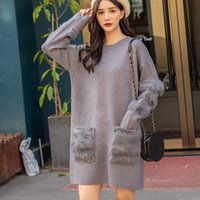 Women's Sweaters Soft Real Fur Pockets Long For Women Plus Size Sweater Female 2021