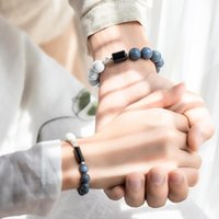 Couple Bracelet White Blue Coral Silver Triangle Brass Ladies Men's Jewelry Beaded, Strands
