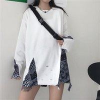 Fall 2021 Women Hoodie Fashion Holes Sweatshirt For Girl Oversized Black White Long Sleeve Tops Harajuku 022S50 Women's Hoodies & Sweatshi S