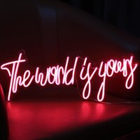 Other Lighting Bulbs & Tubes LED Neon Light Letter Sign The World Is Yours Decorative For Holiday Wedding Party Bar Shop Bedroom Room Window
