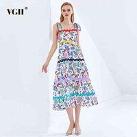 VGH Baskı Hit Renk Elbiseleri Kadın Kare Yaka Kolsuz Yüksek Bel Zayıflama Dantelli Kadın Zarif Elbise Moda Yeni 210421