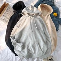Woman's Sweatshirts Solid 13 Colors Korean Female Hooded Pullovers 2020 Cotton Thicken Warm Oversized Hoodies Women A0608