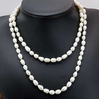 charms white natural freshwater pearl 9-10mm barrel rice long chain necklace for women elegant diy jewelry 36inch B2918