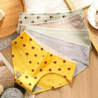 Women Cats 100% Cat Printed Cartoon Underwear Needless Mid-tail Effects Colour Breathing Ladies Slips