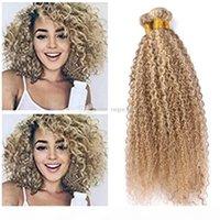 Piano 27 613 Cabelo Humano Weaves Kinky Onda Curly Extensão do Cabelo Afro Kinky Curly Hair Extension Loira Virgem Brasileira Bundles Fast Shipping
