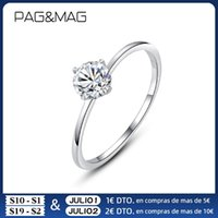 Cluster Rings PAG&MAG 0.5ct 5.6mm EF Round 18K White Gold Plated 925 Silver Moissanite Ring For Women Diamond Wedding Band Anniversary Gift