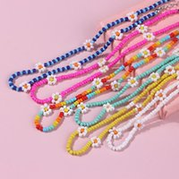 Korea Lovely Daisy Flowers Choker Colorful Beaded Charm Statement Short Chokers Necklace for Women Vacation Jewelry