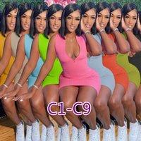 Kadın Elbiseler Tasarımcı Seksi Ince Rahat Fermuar Katı Renk Etek Artı Boyutu Çoklu Renkler Uzun Ve Kısa Kollu Elbise T0118