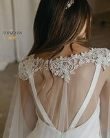Wraps & Jackets TOPQUEEN G36 Bridal Shawl Sexy Reverse Decoration Cloak Lace Embroidery For Wedding Dress Cape Veil Tulle