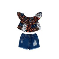 Clothing Sets Girls Outfits Baby Clothes Kids Suit Summer Cotton Short Sleeve Tops Denim Hole Shorts Jeans 2Pcs 2-6Y B5430