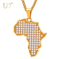 Pendant Necklaces U7 Fashion Full Crystal Map Of Africa Necklace Men Women Gold Color Stainless Steel Rhinestone Hip Hop Jewelry P1098