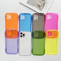 iPhone 12 11 Pro Mini XR XS X 8 7 6 Plus에 대한 형광 슬림 허리 투명한 Shockproof TPU 전화 케이스