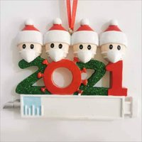 2021 Christmas Decoration Quarantine Ornaments Resin Material Family of 1-7 Heads DIY Tree Pendant Accessories with Rope