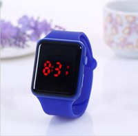 Designers Childrens Led Watch Creative Square Dial Fashion Luminous Watches Students Candy Colorful Jelly Electronic Digical Wristwatches