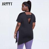 Jryyt Plus Größe 4XL ActiveWear Workout Tops Frauen Side Split Open Back Yoga Shirt Weibliche Fitness Gym Sport T-Shirt Damen