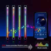 RGB Voice-Activated Pickup Rhythm Light, Creative Colorful Sound Control Ambient with 32 Bit Music Level Indicator Car LED Light HWF9971