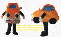 Orange Saloon Car Mascot Costume Limousine Sedan Automobile Auto Taxi Taxicab Mascotte Costumes Character Headlights Like Animal Eyes zz4369