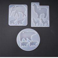 3 pcs Cristal Epoxy Resina Molde de Elefante Alpaca Bear Keychain Casting Silicone Mold Set DIY Crafts Jóias Pingente de Jóias Fazendo Ferramentas 1405 Q2