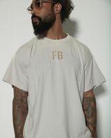 2021 INS Hot Spring Летний Хип-хоп FG 7-й Флокинг Печать Tee Skateboard Tshirt Мужчины Женщины с коротким рукавом Повседневная футболка