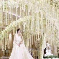 100pcs / lot أنيقة أبيض أوركيد الوستارية فاينز كل قطاع 79 بوصة الحرير أكليل زهرة اصطناعية ليدنج الديكور الزهور الزخرفية