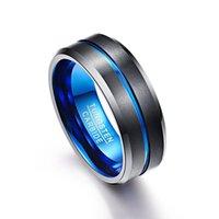 Hombre 8mm Tungsten Carburo Groove Ring Azul Negro Matte Acabado Biselado Edge Banda de boda Anillos de cluster