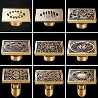 10*10cm Square Antique Brass Art Carved Bath Drains Shower Strainer Hair Bathroom Floor Drain Waste Grate Other & Toilet Supplies