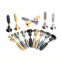 LOULEUR 1Pair Punk Fashion Gold Color Stainless Steel Nail Screw Stud Earring for Women Men Helix Ear Body Piercing Jewelry 1173 Q2
