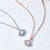 S925 Sterling Sier Small Skirt Necklace Women's Full Diamond Light Luxury Plated Rose Gold Fan Pendant 2021 Clavicle Chain