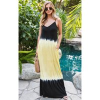Casual Dresses Gradient Aesthetic For Women Loose Solid Color Sleeveless Suspender Dress Elegant Bohemian Vacation