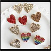Dangle & Chandelier Jewelrytrendy Heart Love Earrings For Women Wedding Bohemian Cute Girls Party Gift Multicoloured Crystal Statement Earri