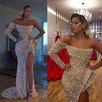 2021 Vestido de Fiesta Sexy Aso EBI Arabo Gold Abiti Abiti da ballo Abiti da ballo Sirena Abiti da serali Sorvegliati Semièrati Sequined Formale Party Reception Abiti Abito