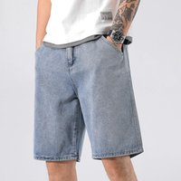 Men's Jeans Denim Shorts Clothing Spring And Summer Thin Fashion Loose Out Trend Straight Tube Holed Pants Sports Capris