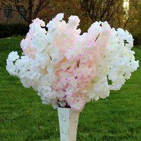 100CM399inch Falso Flor de Cerejeira Flor Begonia Sakura Tree Haste para Evento Decoração Do Casamento Flores Decorativas Artificiais Grinaldas