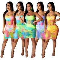 Mini Kleider Vestidos Partykleid Spaghetti Strap Boho Strand Fischnetz Mesh Sommerkleidung Bodycon Sommer Frauen Sexy Club