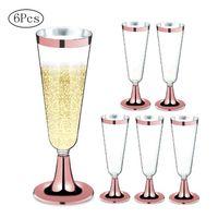 6ピース/セット使い捨て赤ワインガラスプラスチックシャンパンフルートメガネカクテルゴブレットウェディングパーティー用品バードリンクカップ150ml