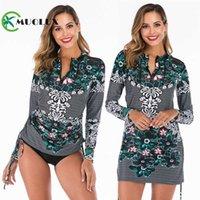 Muolux 2021 Push Up Tankini юбка для женщин Купальники плюс размер 2 шт ретро печать купальный костюм с длинным рукавом платье платье пляж