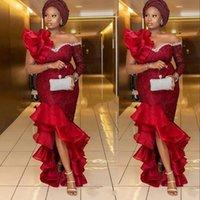 2021 다크 레드 아소 Ebi 인어 이브닝 드레스 착용 나이지리아 스타일 레이스 Appliques 높은 낮은 기차 공식 파티 가운 플러스 사이즈 댄스 파티 드레스 아프리카 가운 데이 슈퍼 프릴