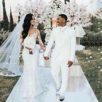 Mermaid Wedding Dresses 2021 With Long Illusion Sleeve Dubai Arabic Sexy Sheer Back Bridal Lace Appliqued Tulle