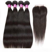Barato 4 pacotes com fecho tece retas tece-se brasileiro extensões de cabelo humano 8a remy wafts cabelo com fecho de laço vendedor recomendar