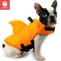 Kimpets الكلب سترة الحياة الصيف سمك القرش الحيوانات الأليفة سترة الملابس s ملابس سباحة بدلة السباحة المهنية التوقف 210804
