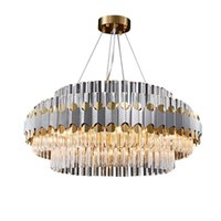 Pendant Lamps LED Modern Round Silver Stainless Steel Crystal Chandelier Light Lustre Suspension Luminaire Hanging For Dinning Room