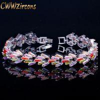 CWWZIRCONS Luxus Silber Farbe Trapezförmige Multi Cubic Zirkonia Armbänder Für Frauen Engagement Hochzeitsfest Schmuck CB110 Link, Kette, Kette