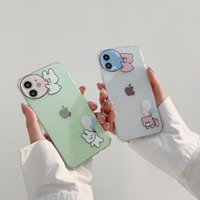 Blowing Bubble Bear Rabbit straight edge transparent mobile phone cases for iPhone 12 11 pro promax X XS Max 7 8 Plus