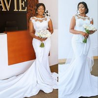 2021 Simple Sexy Mermaid Wedding Dresses Jewel Neck Illusion Lace Appliques Cap Sleeves Chapel Train Plus Size Satin Formal Bridal Dress vestidos de novia