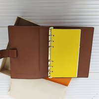 High Quality Holder Agenda Note BOOK Cover Leathers Diary Leather with dustbag and Invoice card Notes books Fashion Style Gold ring mens womens Cards Holders M2004