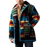 Autumn winter Wool & Blends overcoat mens Geometric printed fashion coat woolen coats men jacket