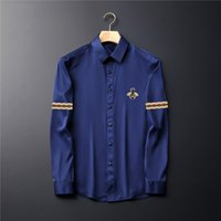 2021ss Mens Shirts Top uality Embroidery blouse Long Sleeve Solid Color Slim Fit Casual Business clothing Long-sleeved shirt Normal size multiple colour