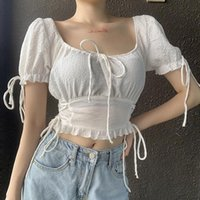 Women Sexy Ruffled Sweet Cropped Blouses Pleated Puff Sleeve Female Off Shoulder Stretch Shirts Chic Tops Ladies Vintage Clothes Women's &