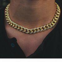 12mm Iced Miami Diamond Cuban Link Chain Real 14k Yellow Gold Solid Cuban Chain 16inch 18inch 20inch 22inch Cubic Zirconia Jewelry