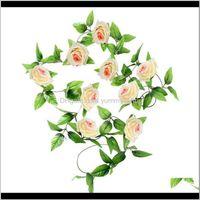 Couronnes décoratives Jardin de fête1 x 8ft Soie artificielle Rose Fleurs Rose Ivy Vigne Feuille Festival Festival Fête de mariage Fournitures Garlands Accueil